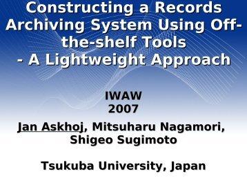 A Lightweight Approach - IWAW