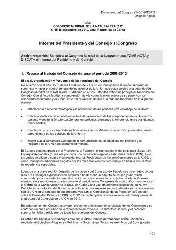 SP-WCC-2012-7.2 Informe del Presidente y Consejo ... - IUCN Portals