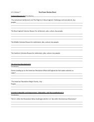 U.S. History 7 Final Exam Review Sheet Colonial ... - Nichols School