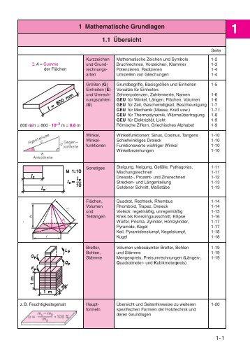 1 Mathematische Grundlagen 1.1 Übersicht