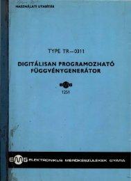EMG 1251 Digitálisan programozható függvénygenerátor használati ...