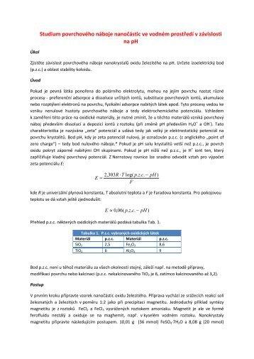 Studium povrchového náboje nanočástic ve vodném prostředí v ...