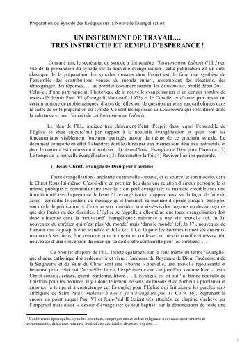 Analyse de l'instrument de travail pour le synode sur la - Diocèse d ...