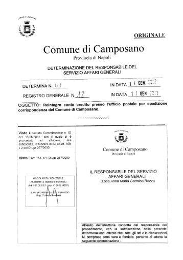 determina-n.12-del 11-01-2012 - Comune di Camposano