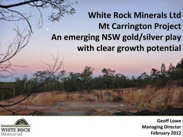Investor Presentation February 2012 - White Rock Minerals