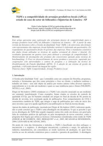 TQM e a competitividade de arranjos produtivos locais (APLs ...