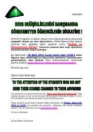 2009-2010 öğretim yılı Bahar dönemi Ders Ekleme-Bırakma ...