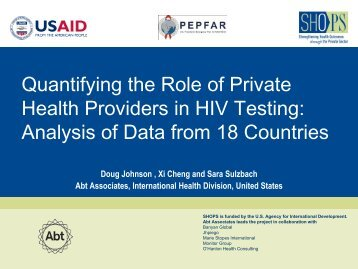 Quantifying the Role of Private Health Providers ... - (SHOPS) project