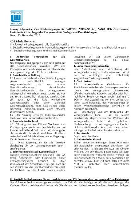 Auszug AGB für Verlag Druck Lstg WITTICH VERLAGE KG Stand ...