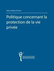 Politique concernant la protection de la vie privée - Legal Aid Ontario