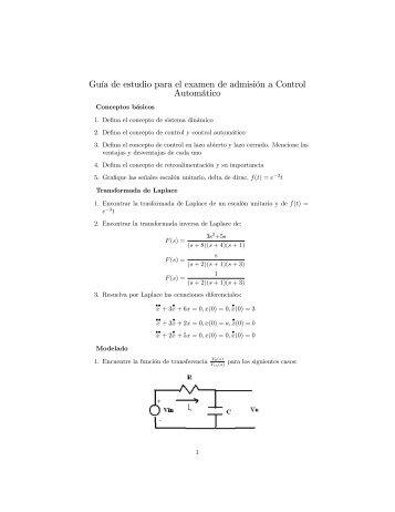 Guía de estudio para el examen de admisión a Control ... - Cinvestav
