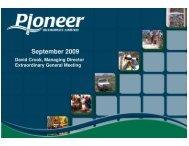 EGM Presentation - Pioneer Resources Limited