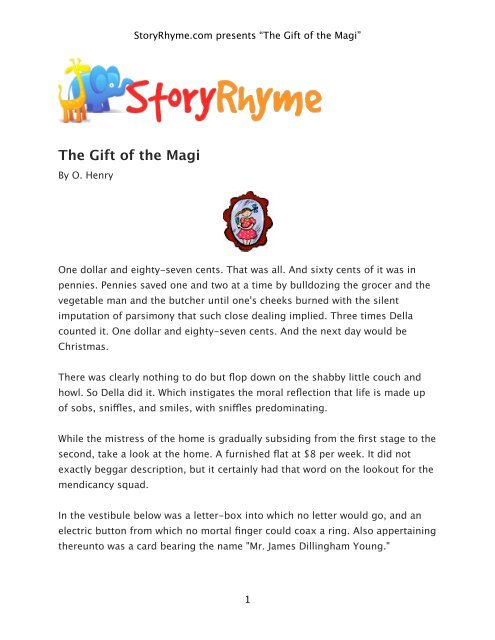 The Gift Of The Magi Storyrhyme