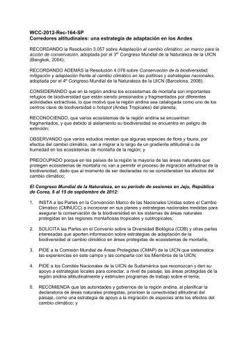 WCC-2012-Rec-164-SP Corredores altitudinales ... - IUCN Portals