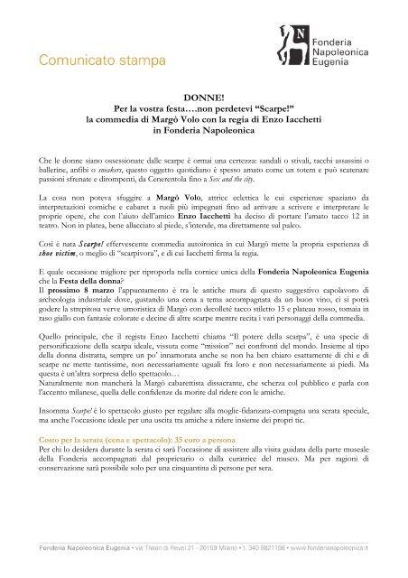 online retailer 2c323 474e9 scarica comunicato stampa - Fonderia Napoleonica Eugenia