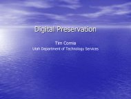 Digital Preservation - Utah State Archives