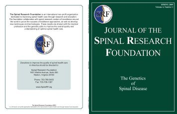 Click to Read the Spring 2009 Journal - Spinal Research Foundation