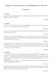 ¨Ubungen zur Vorlesung Atom- und Molekülphysik I im WS 07/08