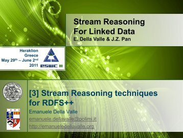Stream Reasoning For Linked Data [3] Stream Reasoning ...