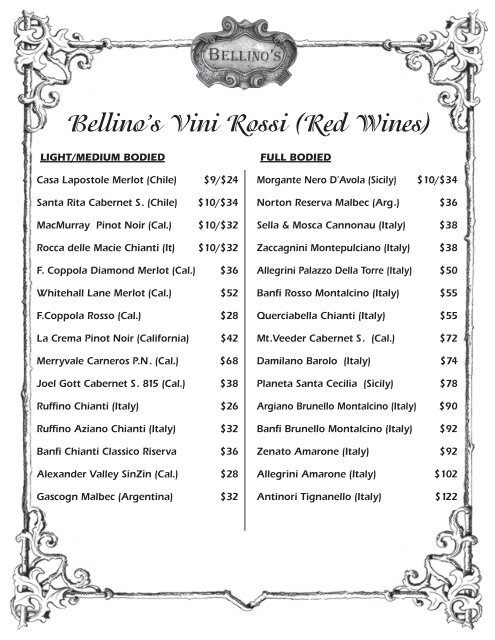 Red Wines Bellino S Italian Restaurants Corpus Christi Texas