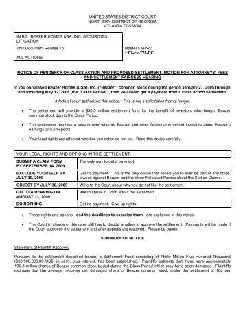 beazer homes usa, inc. securities litigation - Shareholders Foundation