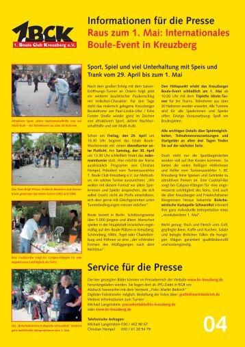 Presseinformation Nr. 4 als PDF - Boule Club Kreuzberg