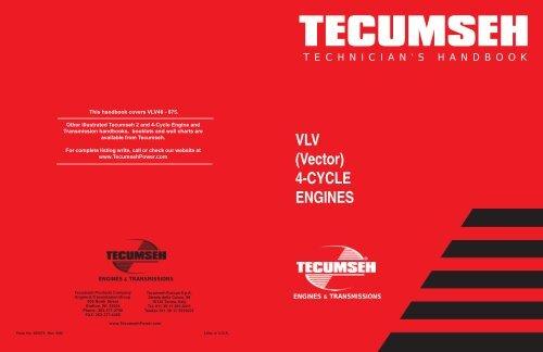 Tecumseh VLV 4 cycle Engines Mechanic/'s Handbook Vector