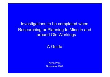 Investigations to be completed when Researching or Planning to ...