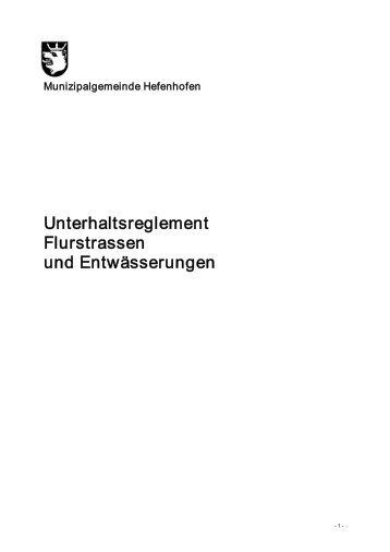 Flurstrassenreglement - Gemeinde Hefenhofen