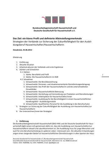 Eckpunktepapier Hauswirtschafterin - DGH
