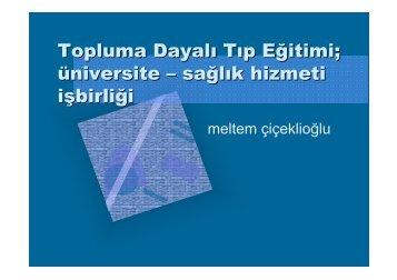 Topluma Dayalı Tıp Eğitimi - Halk Sağlığı AD, Ege Üniversitesi Tıp Fak.