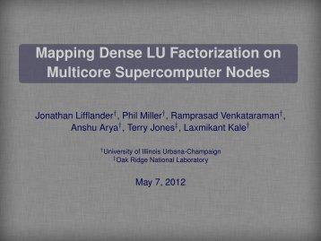 Mapping Dense LU Factorization on Multicore Supercomputer Nodes