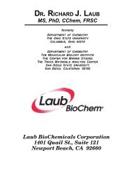DR. RICHARD J. LAUB MS, PhD, CChem, FRSC ... - Laub BioChem