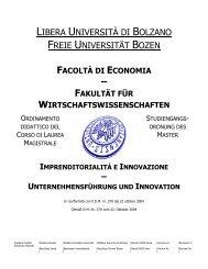 IMPRENDITORIALITÀ E INNOVAZIONE - Freie Universität Bozen