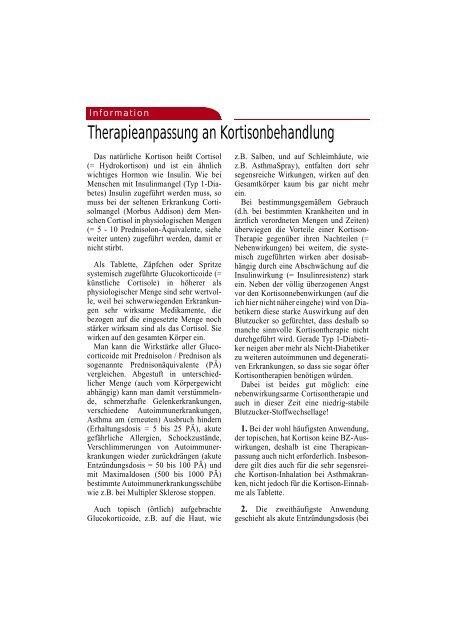 Therapieanpassung an Kortisonbehandlung