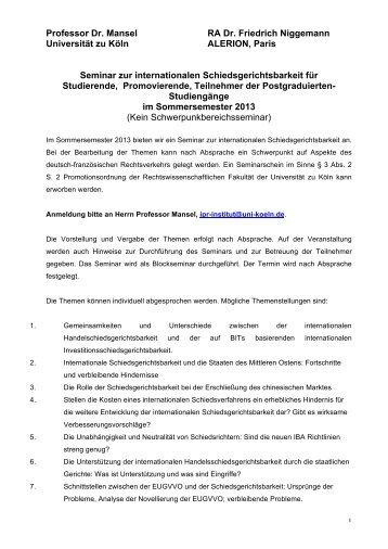 Professor Dr. Mansel RA Dr. Friedrich Niggemann Universität zu ...