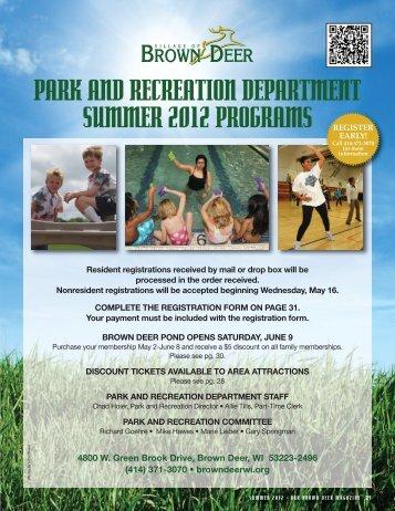 2012 Summer Program Flyer - Village of Brown Deer
