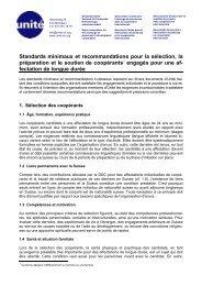 Standards minimaux et recommandations pour la sélection ... - Unité