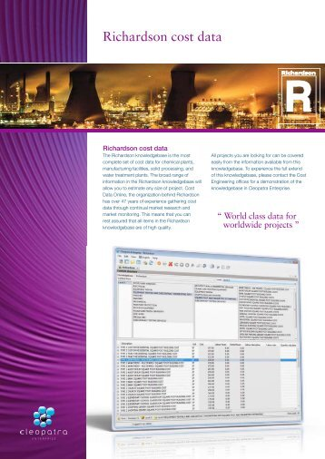 Richardson cost data - Cost Estimating Software