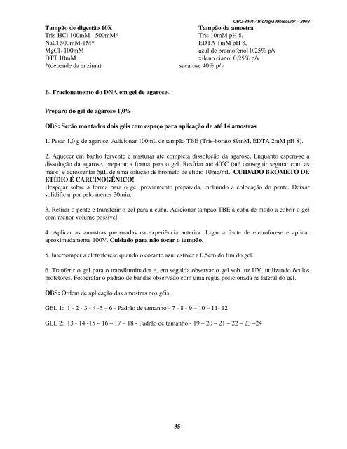 Biologia Molecular – QBQ3401 Química-Noturno 2009