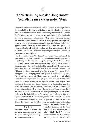 Die Vertreibung aus der Hängematte: Sozialhilfe im ... - Denknetz
