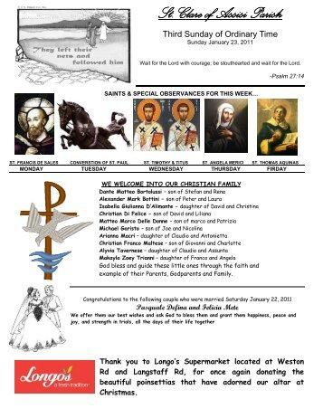 St. Clare of Assisi Parish - Saint Clare of Assisi Parish Website
