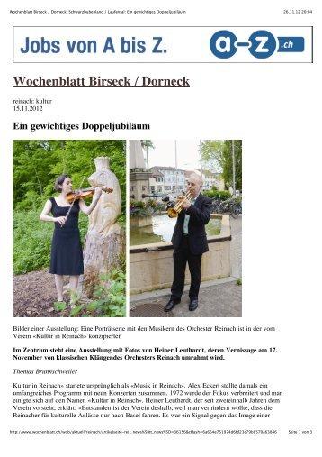 Ein gewichtiges Doppeljubiläum - Orchester Reinach