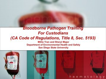 Bloodborne Pathogen Training for Custodians - San Diego State ...