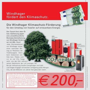 Windhager fördert den Klimaschutz.