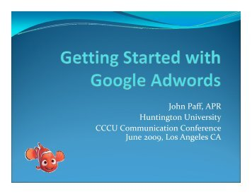 John Paff, APR Huntington University CCCU Communication ...