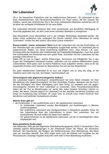 Akademischer Lebenslauf & Publikationsliste - Hochschule ...
