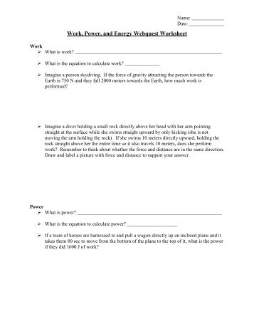 Date. .Period Worksheet 5A: Work and Power I Physical Science _