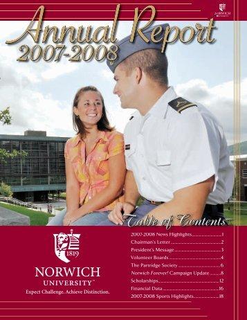 2007-2008 News Highlights .................................1 - Norwich University