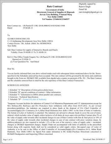 Rate Contract - Globus Infocom